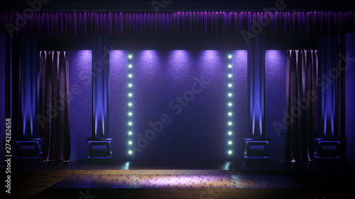 Fotografie, Obraz  Dark empty stage with spot lights