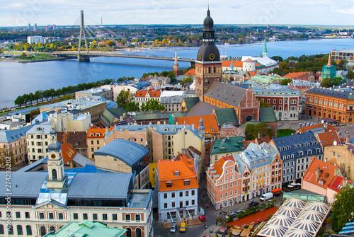 Fotografie, Obraz Panoramic view of Riga Old Town, Latvia
