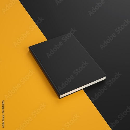 Fotografie, Obraz  Mockup empty cover of black book on two colors orange and black background