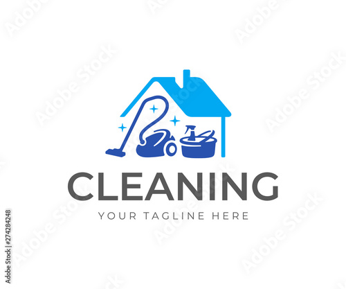 House cleaning service logo design. House with vacuum cleaner, bucket and cleaning products vector design. Spring cleaning logotype Wall mural