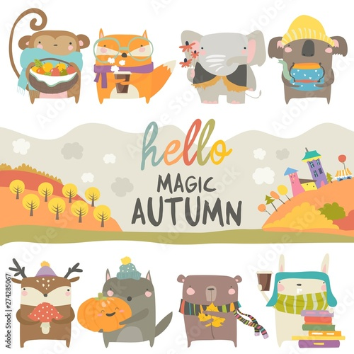 Set of cute animals with autumn theme on white background