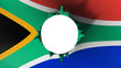 canvas print picture - Hole cut in the flag of South Africa, white background, 3d rendering
