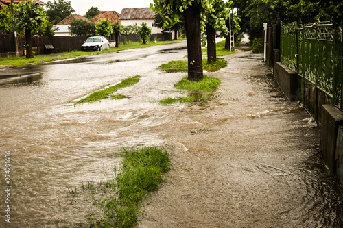 Flooded city street after thunderstorm Fototapeta