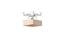 Blank White Quadrocopter With Box Mockup, Flying Isolated, Side View, 3d Rendering. Empty Drone With Order Mock Up. Clear Quad Copter For Video, Photo And Delivery Template.