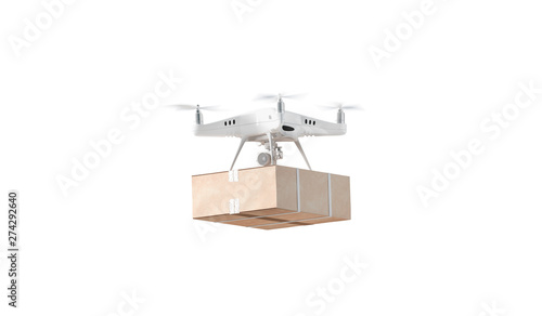 Canvas Print Blank white quadrocopter with box mockup, flying isolated, side view, 3d rendering