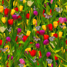Seamless Watercolor Background With Red, Yellow And Purple Tulips On Black Background.