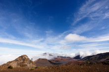 View Of Haleakala National Park Against Cloudy Sky