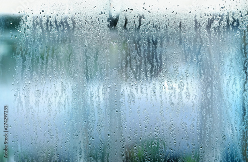 drops on glass window Canvas Print