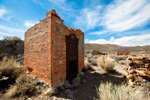 An Old Brick Vault Is All That Remains Of The Bodie Bank After A Fire Destroyed The Rest Decades Ago In The Bodie Gold Mining Ghost Town In California.