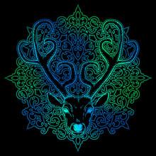 Hand Drawn Deer Head Tribal St...