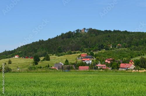 Fototapeta Sosnówka koło Karpacz, widok na zamek księcia Henryka na wzgórzu obraz