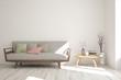 Leinwanddruck Bild - white room with sofa