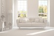 Mock up of stylish room in white color with sofa. Scandinavian interior design. 3D illustration