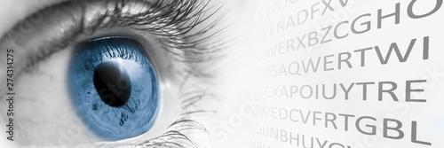 Fotomural  Blue Eye Looking At letters