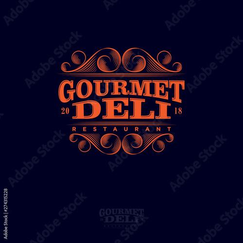 Vászonkép Gourmet And Deli Restaurant Logo