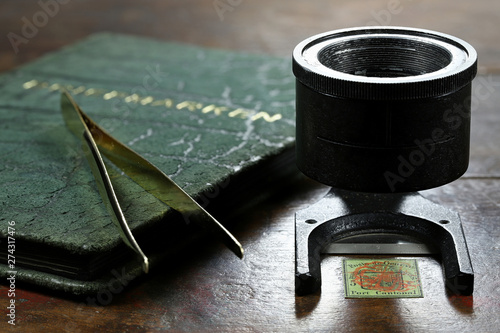 Fotografía  linen tester with 5 cent Geneva cantonal stamp from 1847