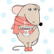 Cute Mouse In A Red Scarf Holding A Cup Of Hot Tea Or Coffee And Smiling. Postcard For New Year And Christmas.