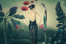 Young Elegant Woman In Imaginary Landscape Composite Photo