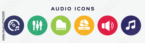 Vector set of audio icons. Wallpaper Mural