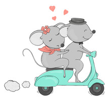 Two Lovers Mouse On A Bike Rid...