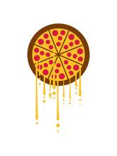 Schmelzender Käse Tropfen Graffiti Pizza Salami Lecker Hunger Essen Fast Food Scheiben Fressen Zone Gebiet Clipart Logo