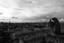 Gargouille Penseur Sur Notre Dame De Paris
