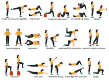 Set Of Glute Exercises And Wor...