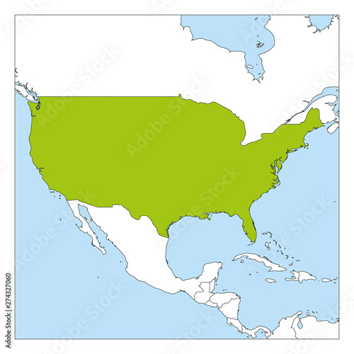 Map of United States of America, USA, green highlighted with ...