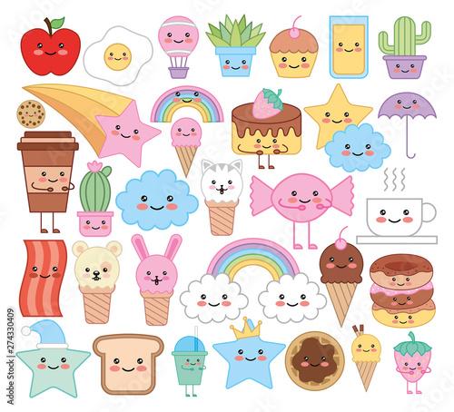 bundle of emojis animals and food kawaii characters Wallpaper Mural