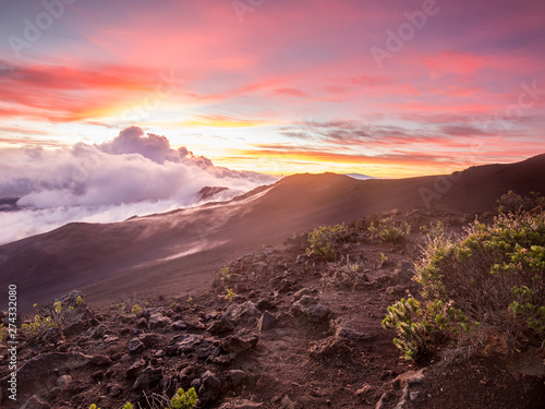 Canvas Prints Akt sunrise from the summit of a dormant volcano on maui