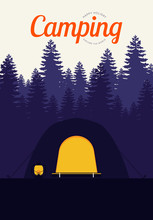 Camping And Travel Concept Poster Background Vintage Retro Style
