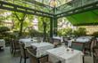 canvas print picture - Beautiful restaurant summer terrace interior