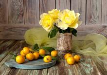 Fruits Of Medlar And Yellow Ro...