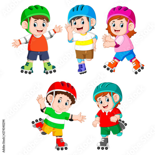 Fotobehang Kids the collection of the children playing the roller skate