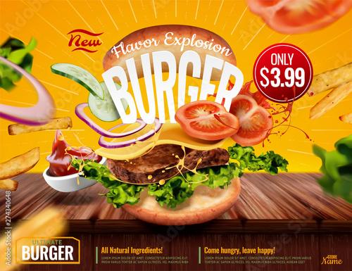 Fotografía Delicious hamburger ads