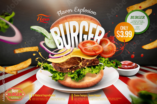 Fotografie, Tablou Delicious hamburger ads