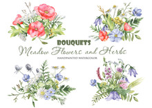 Watercolor Bouquets With Wildf...