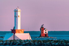 Two Lighthouses During A Pink ...