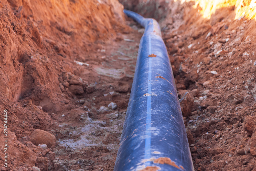 Fototapeta A black plastic pipe with a blue strip to feed water to the house