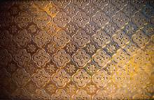 Beautiful Flower Pattern On Orange Glass-Image