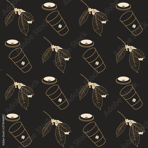 Coffee seamless pattern, coffee and branch of coffee tree golden line art ink drawing on dark brown background, vintage style