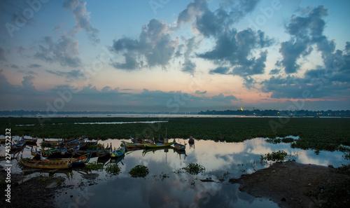 Acrylic Prints Horseback riding Sunrise at U Bein Bridge with boat, Mandalay, Myanmar.