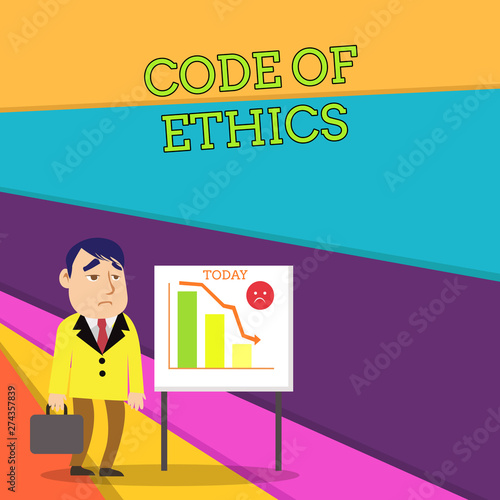 Handwriting text Code Of Ethics  Conceptual photo basic guide for