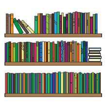 Bookshelf. Various Bright Books Are On The Shelf. Vector Illustration.