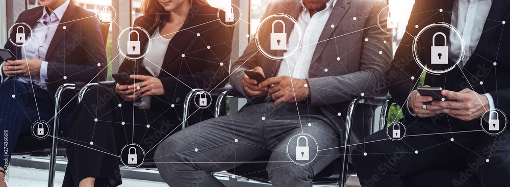 Fototapeta Cyber Security and Digital Data Protection Concept. Icon graphic interface showing secure firewall technology for online data access defense against hacker, virus and insecure information for privacy.