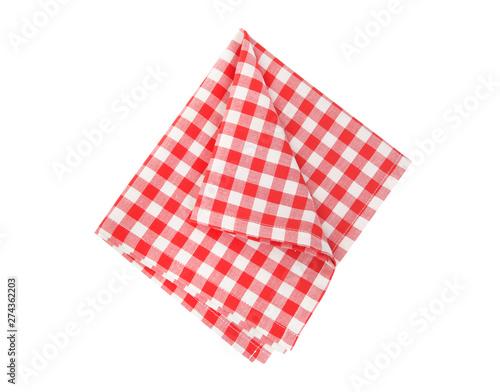 Fototapeta Picnic cloth folded isolated.Checkered napkin. obraz