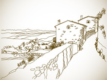 Old Street In Romantic Provence, France. Urban Landscape In Hand Drawn Sketch Style. Ink Line Drawing. Vector Illustration In Sepia.