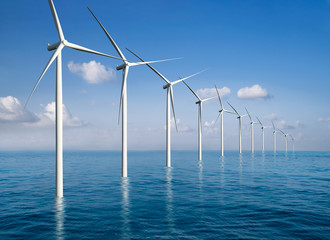 Panel Szklany Eko Wind turbine farm power generator in beautiful nature landscape for production of renewable green energy is friendly industry to environment. Concept of sustainable development technology.
