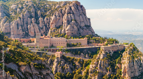 Photo Stands Barcelona View of the Montserrat Monastery in Catalonia, near Barcelona