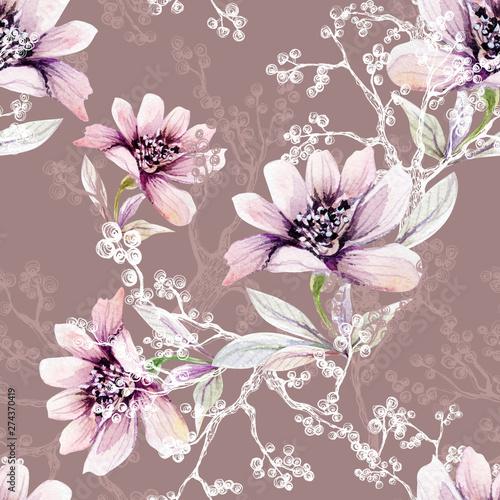 recznie-rysowane-akwarela-ilustracja-kwiatow-i-galezi-w-kolorze-bialym-i-szarym-tuszem-na-rozowo-brazowym-tle-bez-szwu-do-wykorzy